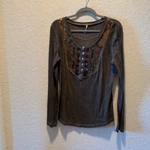 Free People sequined long sleeve top, size L